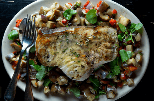 Grilled Swordfish with Eggplant-and-Pepper Salad