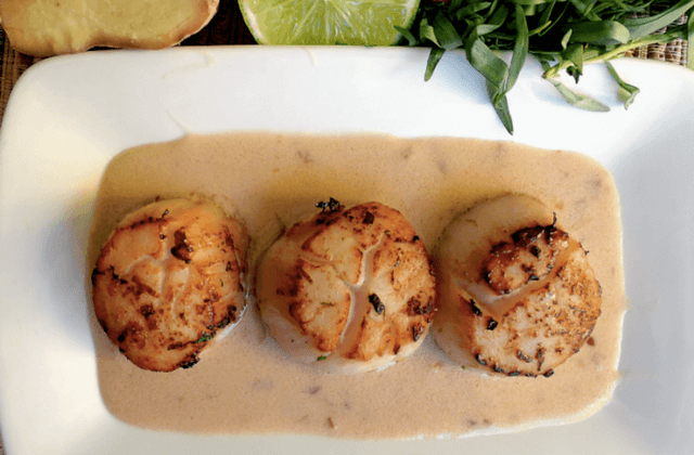 Lime-Seared Scallops In Lemongrass Broth Recipe