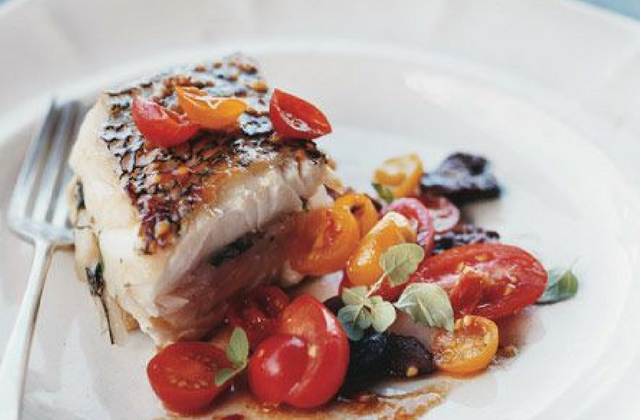 Roasted Sea Bass with Tomato & Olive Salad